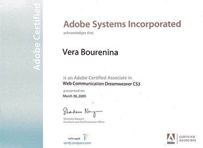 Adobe Dreamweaver certification